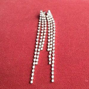 long faux diamond earrings